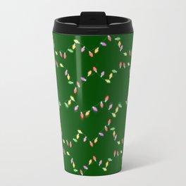 Festive Christmas Lights on Green Travel Mug