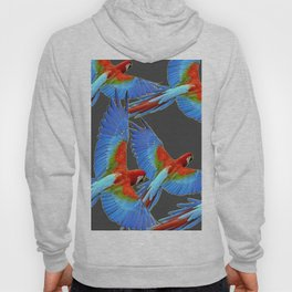 FLOCK OF BLUE MACAWS ON CHARCOAL Hoody