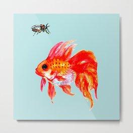 Goldfish and Cicada Metal Print