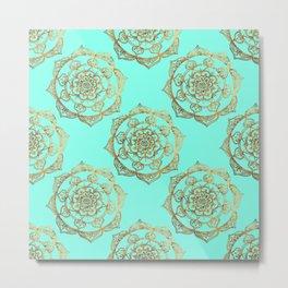Golden Mandalas on Turquoise Metal Print