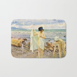 Paul Gustav Fischer - The Bathers. Two Young Women On A Beach - Digital Remastered Edition Bath Mat