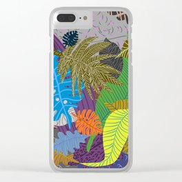 Rainbow Dancing Leaves Clear iPhone Case