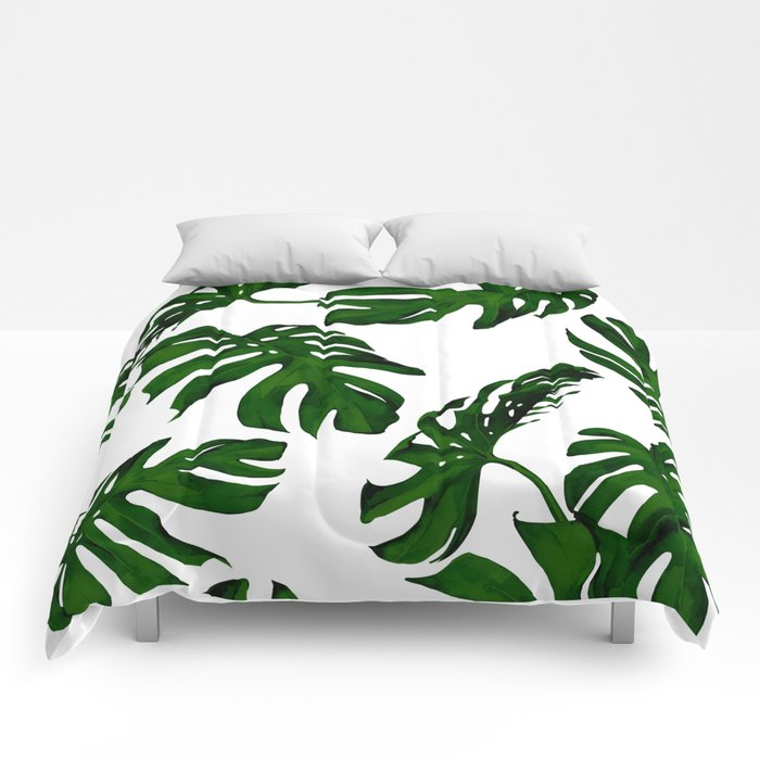 Simply Tropical Palm Leaves in Jungle Green Comforters