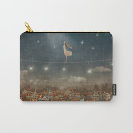 Illustration of  cute houses and  pretty girl   in night sky Carry-All Pouch