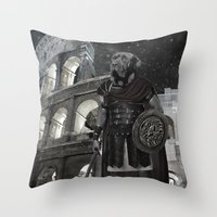 gladiator Throw Pillows featuring Neapolitan Mastiff Gladiator  by Barruf