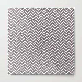 Gray& White Chevron Pattern Metal Print