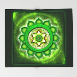 "Anahata Chakra - Heart Chakra - Series ""Open Chakra"" Throw Blanket"