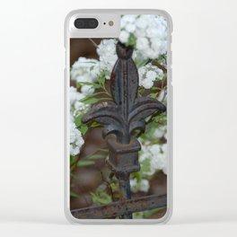 Fleur de Lis Among the Bridal Wreath Clear iPhone Case