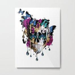 Flomo Butterfly Skull Metal Print