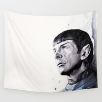 spock Wall Tapestries featuring Goodbye Mr. Spock - Leonard Nimoy by Denise Esposito