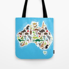 map of Australia. Echidna Platypus ostrich Emu Tasmanian devil Cockatoo parrot Wombat snake turtle Tote Bag