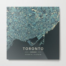 Toronto, Canada - Cream Blue Metal Print