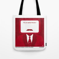 will ferrell Tote Bags featuring No278 My Anchorman Ron Burgundy minimal movie poster by Chungkong