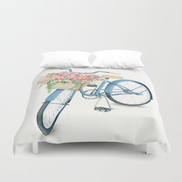Blue Bicycle with Flowers in Basket Duvet Cover