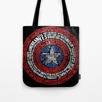 steve rogers Tote Bags featuring Who is Steve Rogers? by dailymantra
