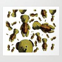teddy bear Art Prints featuring Teddy-bear by Кaterina Кalinich