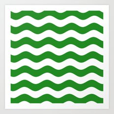 Wavy Stripes (Forest Green/White) Art Print