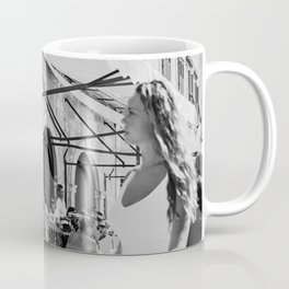 A girl new in town street photography black and white street scene wall art Coffee Mug