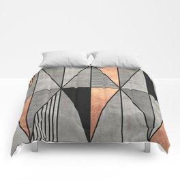 Concrete and Copper Triangles Comforters