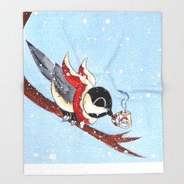 Hot Chocolate Chickadee Throw Blanket