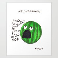 rubyetc Art Prints featuring melondramatic by rubyetc