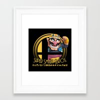super smash bros Framed Art Prints featuring Wario - Super Smash Bros. by Donkey Inferno
