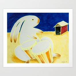 Bongo Bunny by the Old Tin Shack Art Print