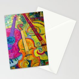 ROSE GUITAR & MUSIC INSTRUMENTS PAINTING Stationery Cards