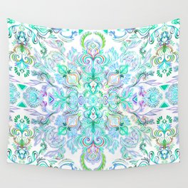Painted Rainbow Doodles Wall Tapestry