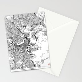 Boston Map White Stationery Cards