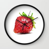 strawberry Wall Clocks featuring Strawberry by CipiArt