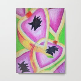 Retro style repeat passionfruit Metal Print