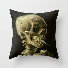 Skull of a Skeleton with Burning Cigarette by Vincent van Gogh Throw Pillow