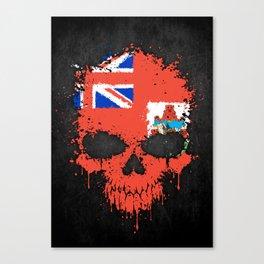 Flag of Bermuda on a Chaotic Splatter Skull Canvas Print