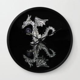 """""""Reflections""""  - Silver Dragon Wall Clock"""