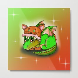 Kawaii baby dragon in a cute cat hat Metal Print