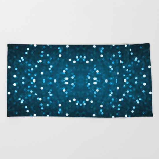 Cyan Blue Sparkly Bokeh Beach Towel