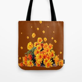 COFFEE BROWN SHOWER GOLDEN FLOWERS Tote Bag