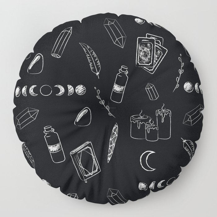 Witchy Stuff Black Floor Pillow