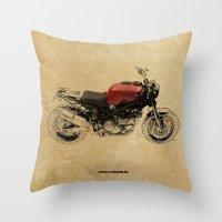 ducati Throw Pillows featuring Ducati Scrambler by Larsson Stevensem