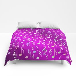 music, note, notes, ribbon, symbol, symbol, pink, purple, silver, pattern textile, fashion, trend, r Comforters
