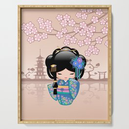 Japanese Keiko Kokeshi Doll Serving Tray