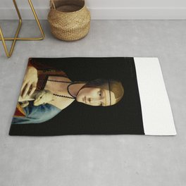 """Leonardo Da Vinci """"Portrait of Cecilia Gallerani (Lady with the Ermine)"""" Rug"""