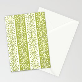 Mid Century Modern Berry Vine Stripes Chartreuse Stationery Cards