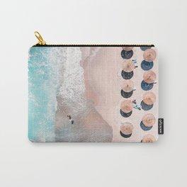 People Umbrellas On Beach, Aerial Beach, Sea Print, Ocean Waves, Summer Vibes, Orange and Teal, Art Print Carry-All Pouch