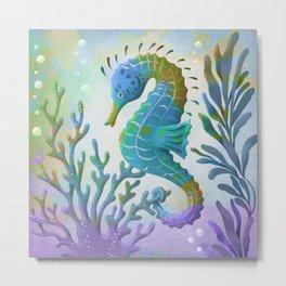 Hypercolor Seahorse Metal Print