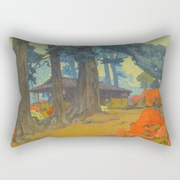 Azalea Garden (Teahouse) 1938 Vintage Beautiful Japanese Woodblock Print Hiroshi Yoshida Rectangular Pillow
