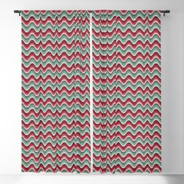Bargello waves red green Blackout Curtain