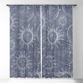 Blue Magic Celestial Sun Moon Stars Sheer Curtain
