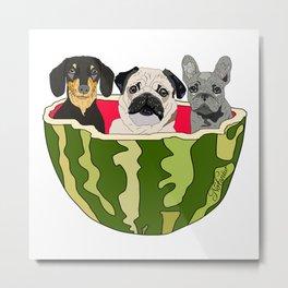 Watermelon Dogs Metal Print